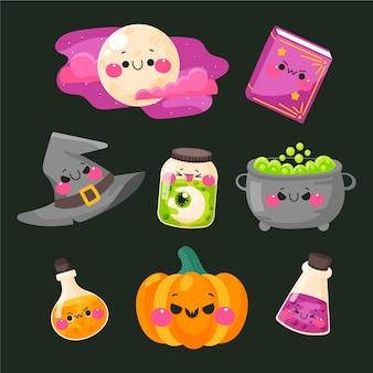 Pack de elementos de halloween dibujados a mano