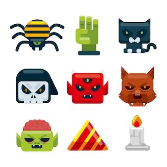 Pack de elementos de halloween de diseño plano