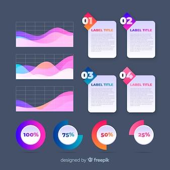 Pack de elementos de infografía coloridos