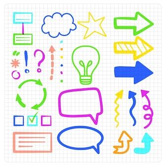 Pack de elementos de infografía escolar en diferentes colores.