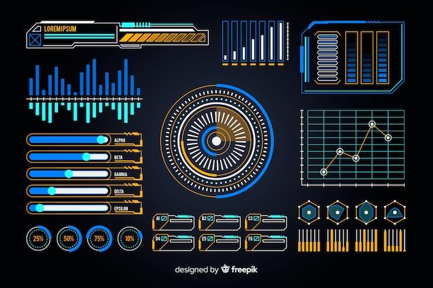 Pack de elementos de infografía futurista.