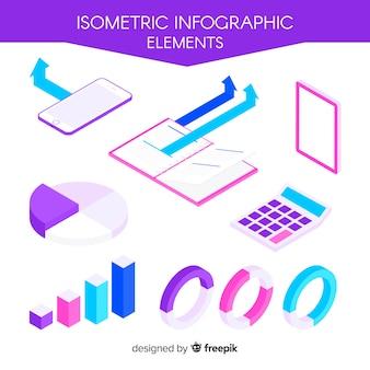 Pack elementos infografía isométricos