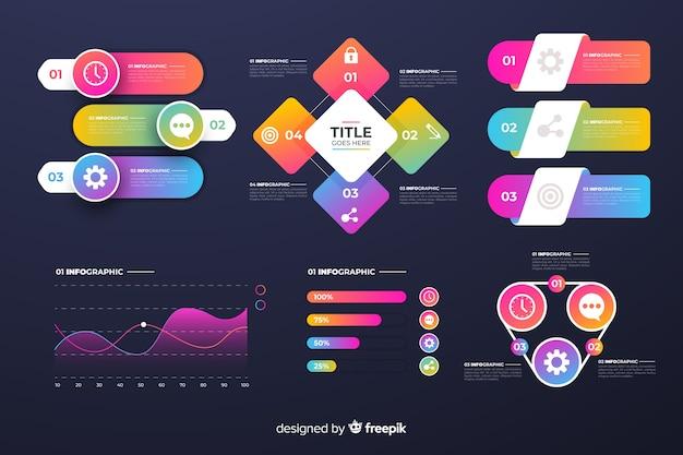 Pack elementos de infografía de negocios degradados