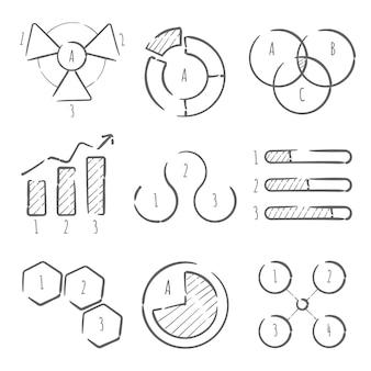 Pack de elementos infográficos dibujados a mano