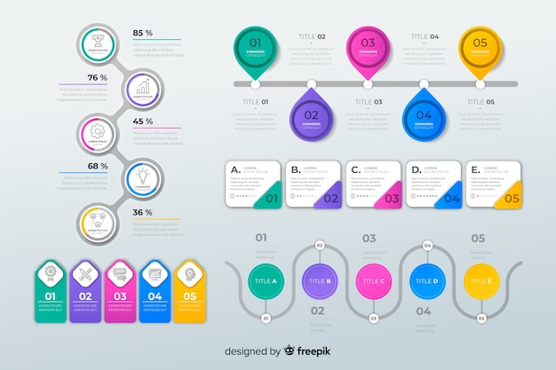 Pack de elementos infográficos de diseño plano.