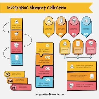 Pack de elementos infográficos a mano