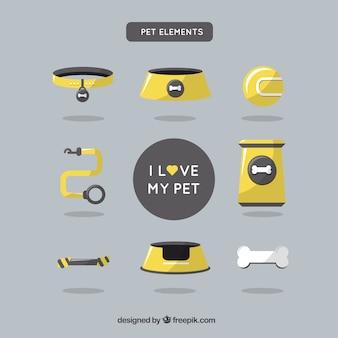 Pack de elementos de mascota amarillos