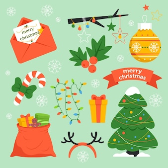 Pack de elementos navideños dibujados a mano