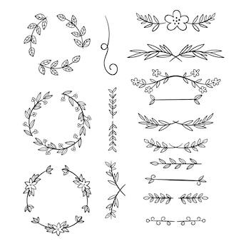 Pack de elementos ornamentales dibujados