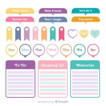 Pack de elementos de planificación hermosos