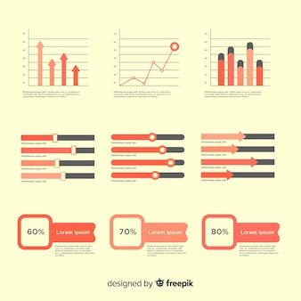 Pack elementos planos infografía