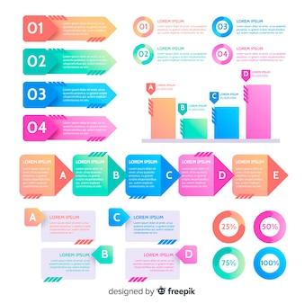 Pack de elementos planos infográficos