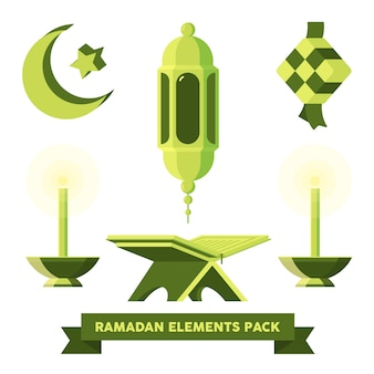 Pack de elementos planos de ramadan y eid mubarak