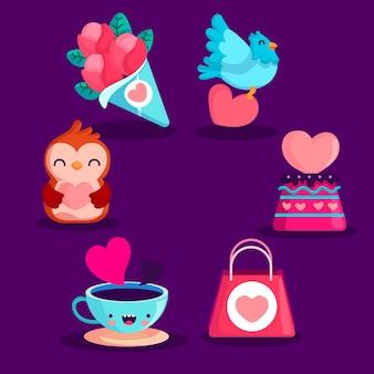 Pack de elementos planos de san valentín