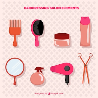 Pack de elementos de salón de peluquería rosa