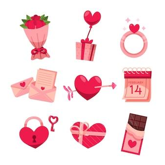Pack de elementos de san valentín dibujados a mano
