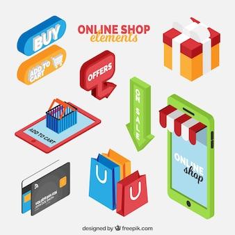Pack de elementos de tienda online