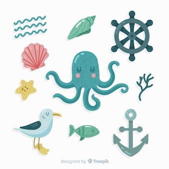 Pack elementos vida marina dibujados a mano