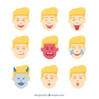 Pack de emoticonos de chico con caras divertidas