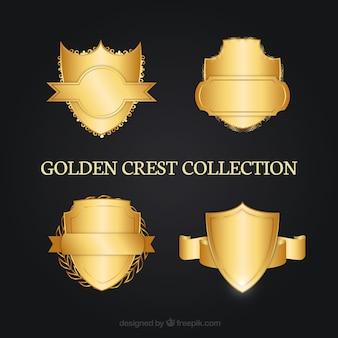 Pack de escudos heráldicos dorados decorativos