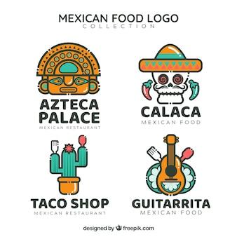 Pack con estilo de logos de restaurante mejicano