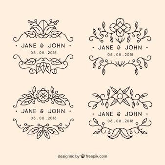 Pack de etiquetas de boda ornamentales