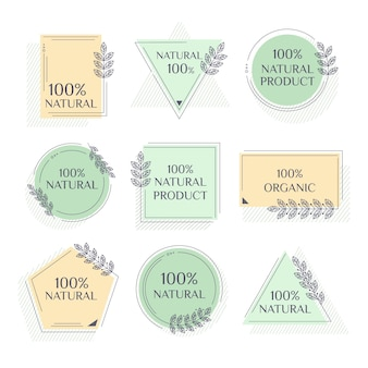 Pack de etiquetas cien por cien naturales