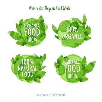 Pack etiquetas comida sana acuarela verde