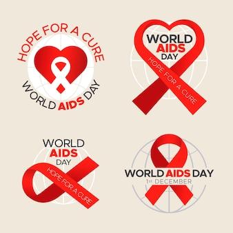 Pack de etiquetas del día mundial del sida