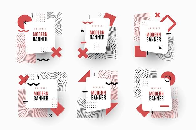 Pack de etiquetas de diseño gráfico en estilo geométrico.