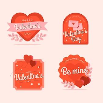 Pack de etiquetas planas de san valentín