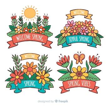 Pack etiquetas primavera florales dibujos animados
