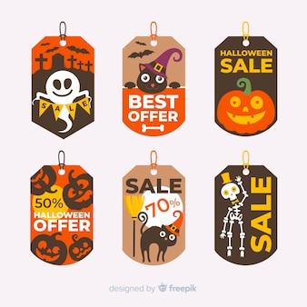 Pack de etiquetas de rebajas de halloween modernas
