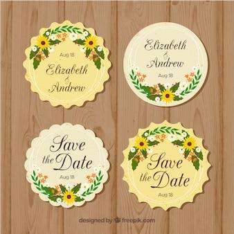 Pack de etiquetas redondas florales de boda