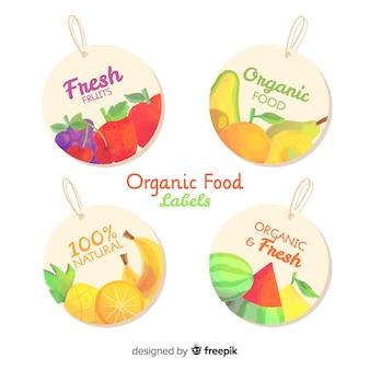 Pack etiquetas redondas frutas y verduras frescas