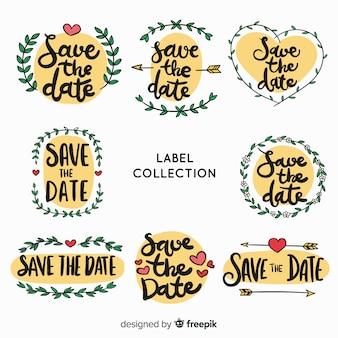 Pack etiquetas reserva la fecha dibujadas a mano