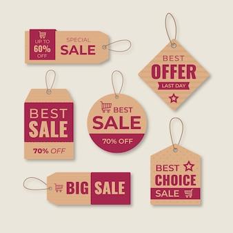 Pack de etiquetas de venta de diseño plano