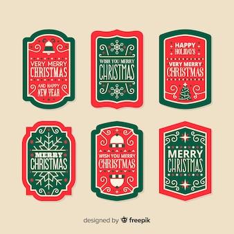 Pack de etiquetas vintage de navidad