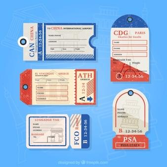Pack de etiquetas vintage planas de viaje