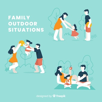 Pack familia haciendo actividad exterior dibujada a mano