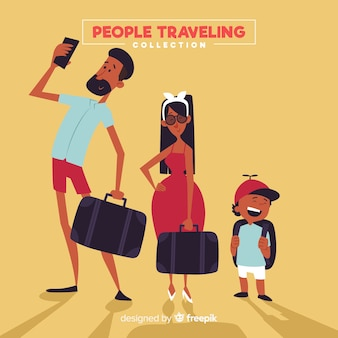 Pack famlia viajando dibujada a mano