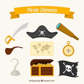 Pack fantástico de elementos pirata planos