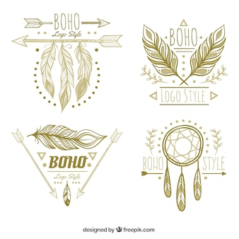 Pack fantástico de logos con plumas decorativas