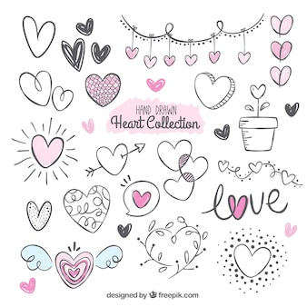 Pack fantástico con variedad de corazones dibujados a mano