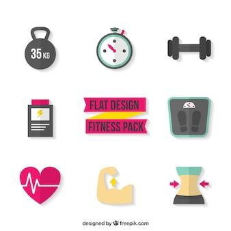 Pack de fitness de diseño plano