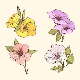 Pack de flores de botánica vintage