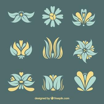 Pack de flores elegantes de art nouveau