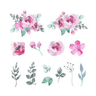 Pack de flores y hojas de acuarela en tonos rosáceos.