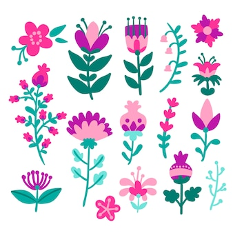 Pack de flores de primavera dibujadas a mano