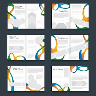 Pack de folletos abstractos con ondas